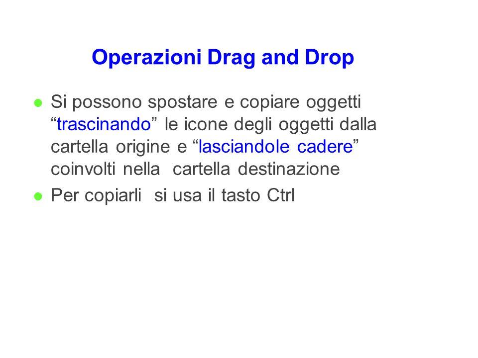 Operazioni Drag and Drop l Si possono spostare e copiare oggettitrascinando le icone degli oggetti dalla cartella origine e lasciandole cadere coinvol