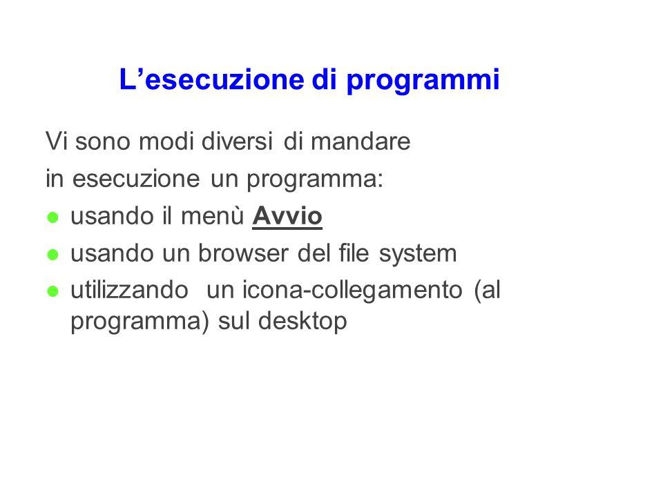 Lesecuzione di programmi Vi sono modi diversi di mandare in esecuzione un programma: l usando il menù Avvio l usando un browser del file system l util