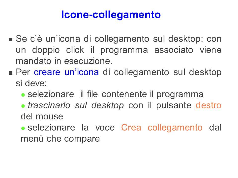 Icone-collegamento n Se cè unicona di collegamento sul desktop: con un doppio click il programma associato viene mandato in esecuzione. n Per creare u