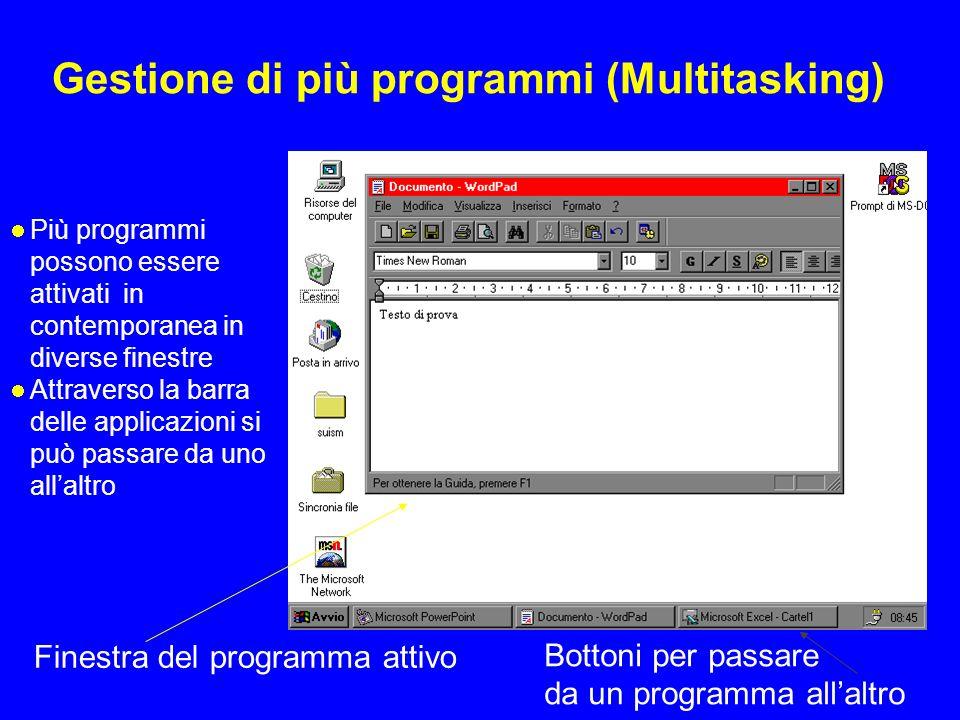 Gestione di più programmi (Multitasking) Più programmi possono essere attivati in contemporanea in diverse finestre Attraverso la barra delle applicaz