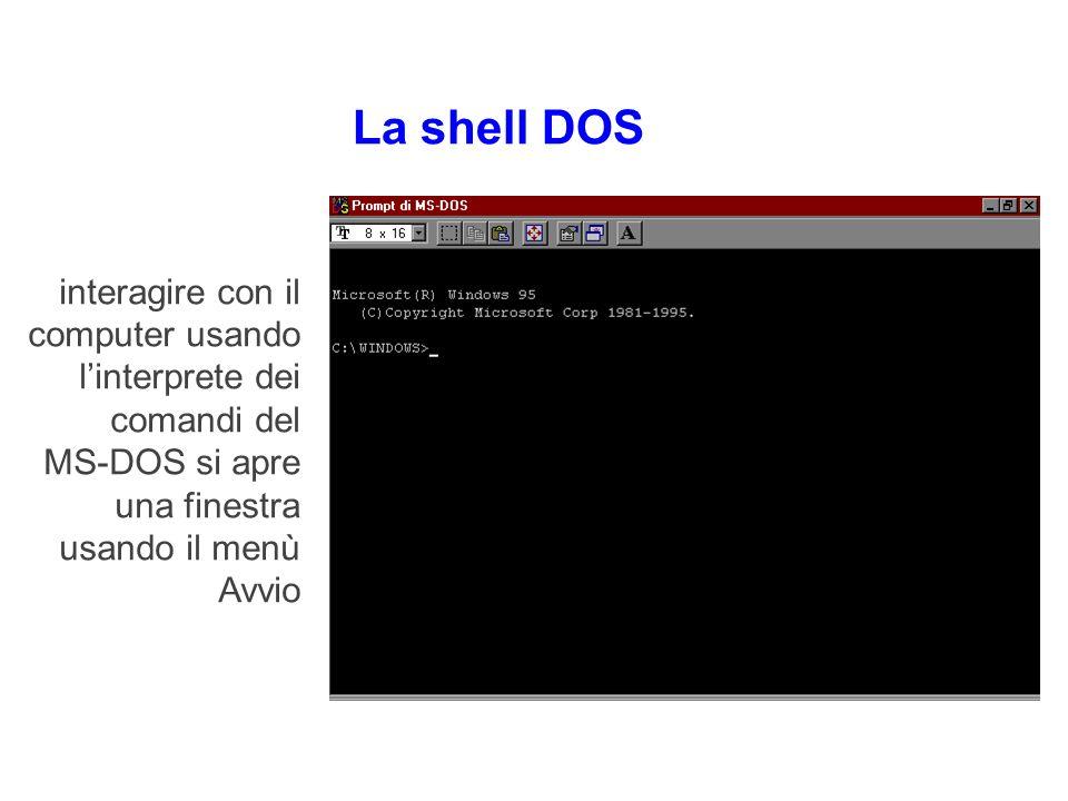La shell DOS Si può anche interagire con il computer usando linterprete dei comandi del MS-DOS si apre una finestra usando il menù Avvio