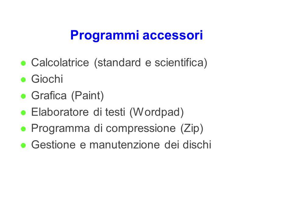 Programmi accessori l Calcolatrice (standard e scientifica) l Giochi l Grafica (Paint) l Elaboratore di testi (Wordpad) l Programma di compressione (Z