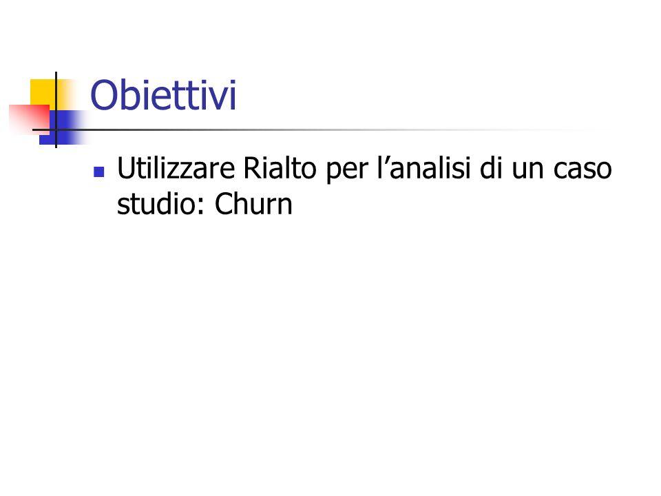 Obiettivi Utilizzare Rialto per lanalisi di un caso studio: Churn