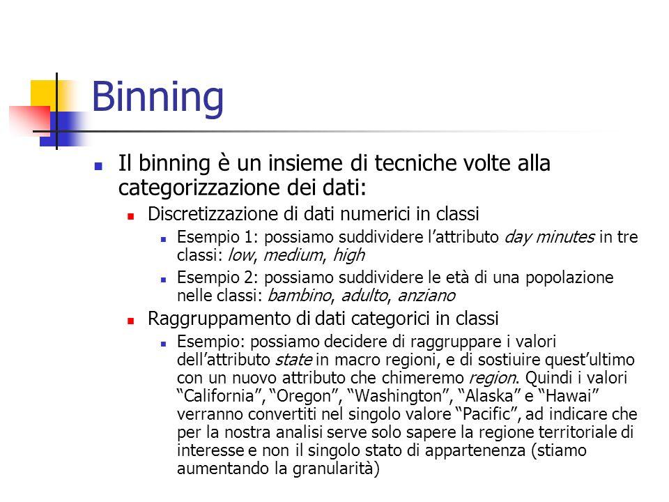 Binning Il binning è un insieme di tecniche volte alla categorizzazione dei dati: Discretizzazione di dati numerici in classi Esempio 1: possiamo sudd