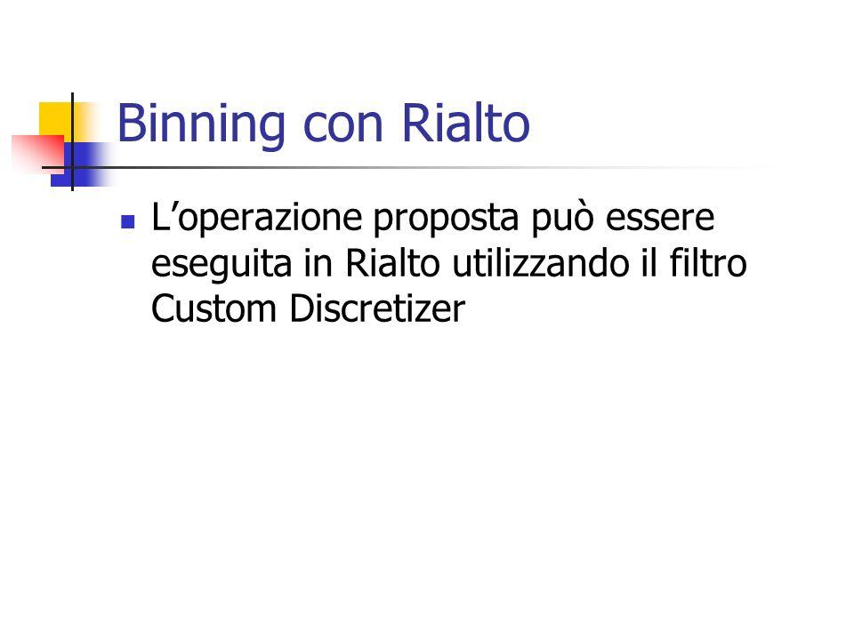 Binning con Rialto Loperazione proposta può essere eseguita in Rialto utilizzando il filtro Custom Discretizer