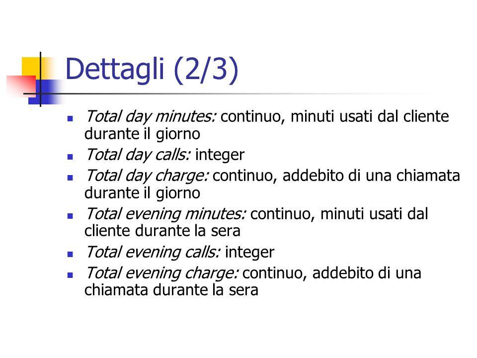 Dettagli (2/3) Total day minutes: continuo, minuti usati dal cliente durante il giorno Total day calls: integer Total day charge: continuo, addebito d