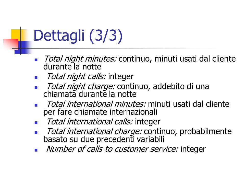 Dettagli (3/3) Total night minutes: continuo, minuti usati dal cliente durante la notte Total night calls: integer Total night charge: continuo, addeb