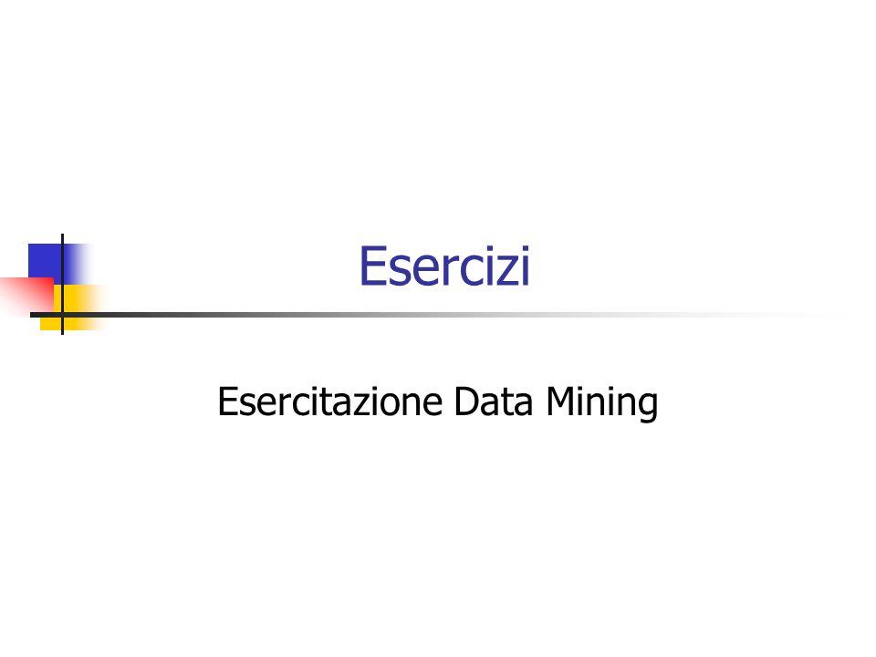 Esercizi Esercitazione Data Mining