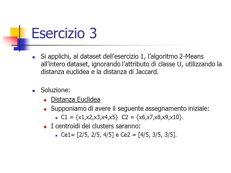 Esercizio 3 Si applichi, al dataset dellesercizio 1, lalgoritmo 2-Means allintero dataset, ignorando lattributo di classe U, utilizzando la distanza euclidea e la distanza di Jaccard.