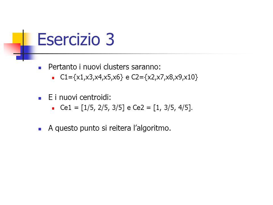 Esercizio 3 Pertanto i nuovi clusters saranno: C1={x1,x3,x4,x5,x6} e C2={x2,x7,x8,x9,x10} E i nuovi centroidi: Ce1 = [1/5, 2/5, 3/5] e Ce2 = [1, 3/5, 4/5].