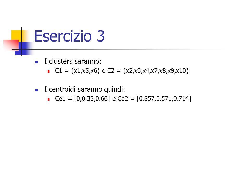 Esercizio 3 I clusters saranno: C1 = {x1,x5,x6} e C2 = {x2,x3,x4,x7,x8,x9,x10} I centroidi saranno quindi: Ce1 = [0,0.33,0.66] e Ce2 = [0.857,0.571,0.714]