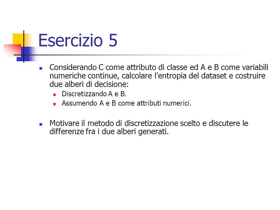 Esercizio 5 Considerando C come attributo di classe ed A e B come variabili numeriche continue, calcolare lentropia del dataset e costruire due alberi di decisione: Discretizzando A e B.