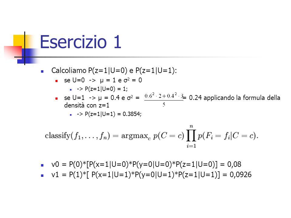 Esercizio 1 Calcoliamo P(z=1|U=0) e P(z=1|U=1): se U=0 -> μ = 1 e σ 2 = 0 -> P(z=1|U=0) = 1; se U=1 -> μ = 0.4 e σ 2 = = 0.24 applicando la formula della densità con z=1 -> P(z=1|U=1) = 0.3854; v0 = P(0)*[P(x=1|U=0)*P(y=0|U=0)*P(z=1|U=0)] = 0,08 v1 = P(1)*[ P(x=1|U=1)*P(y=0|U=1)*P(z=1|U=1)] = 0,0926