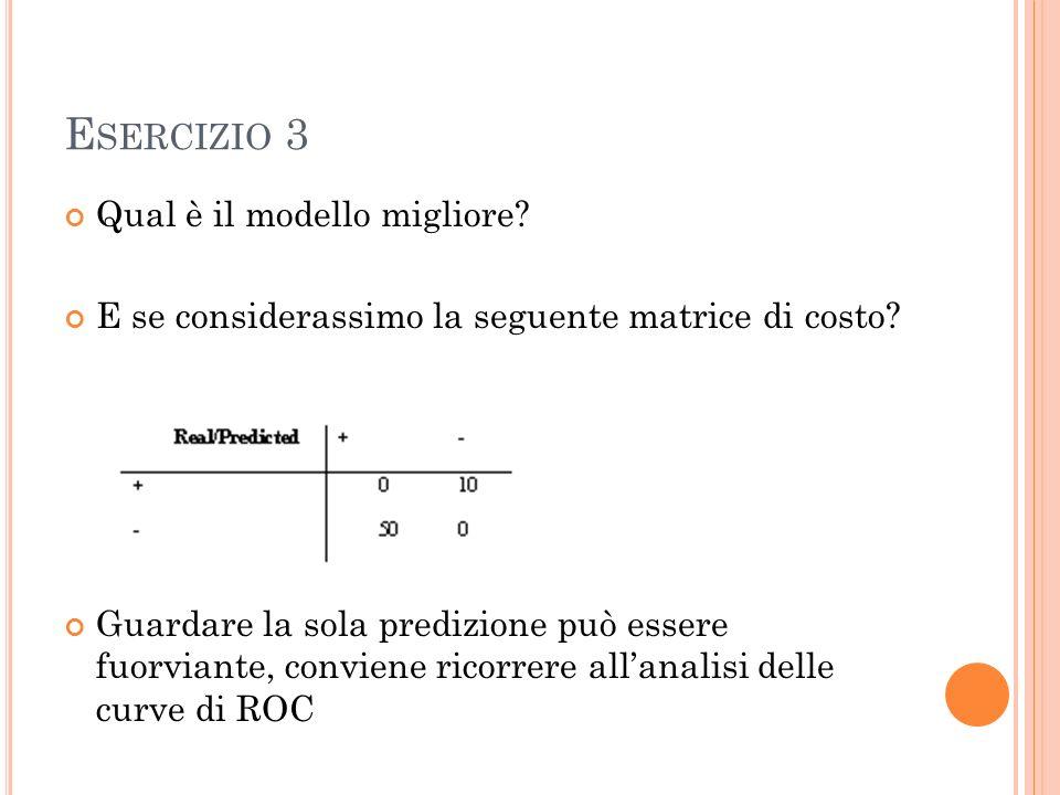 E SERCIZIO 3 Qual è il modello migliore. E se considerassimo la seguente matrice di costo.