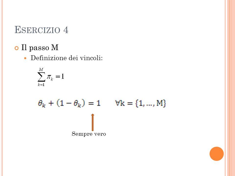 E SERCIZIO 4 Il passo M Definizione dei vincoli: Sempre vero
