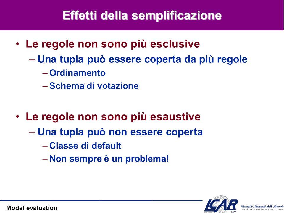 Model evaluation Effetti della semplificazione Le regole non sono più esclusive –Una tupla può essere coperta da più regole –Ordinamento –Schema di vo