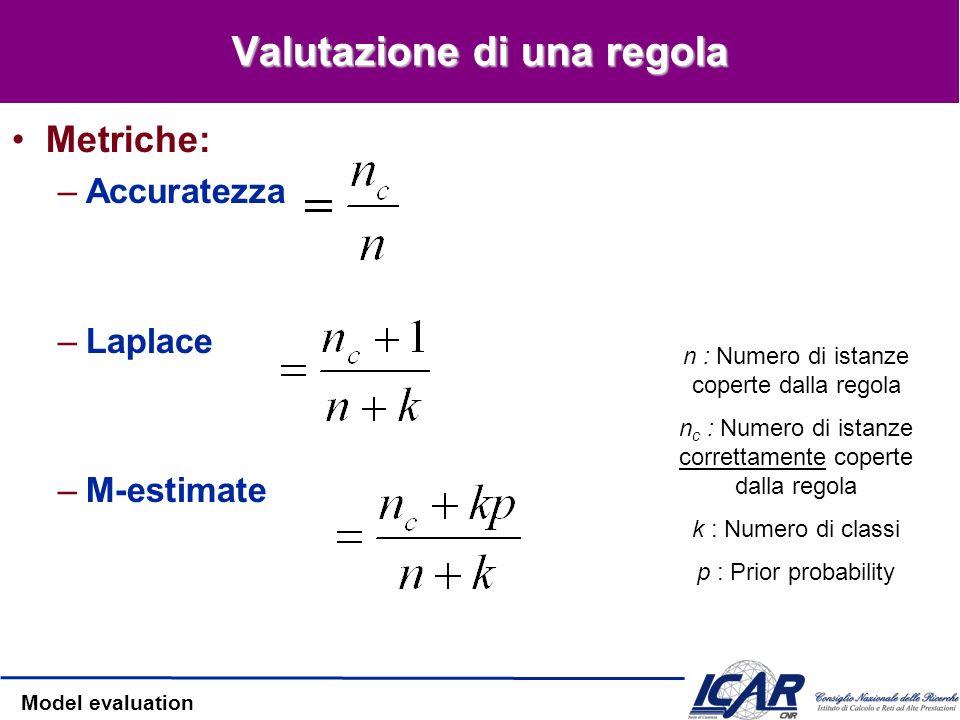 Model evaluation Valutazione di una regola Metriche: –Accuratezza –Laplace –M-estimate n : Numero di istanze coperte dalla regola n c : Numero di ista