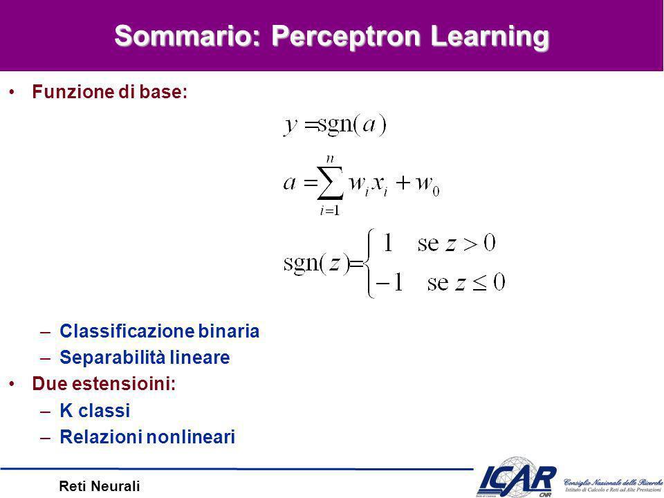 Reti Neurali Concetti Linearmente Separabili: classificazione ottimale –esempio A: Convergenza Concetti Non-LS: approssimazione –esempio B: non LS; la delta rule converge, ma non è ottimale –esempio C: non LS; buona generalizzazione Vettore w = somma dei x D misclassificati –Perceptron: minimizza w –Delta Rule: minimizza errore distanca dal separatore Delta e Perceptron Rules Esempio A + - + + - - x1x1 x2x2 + + Esempio B - - x1x1 x2x2 Esempio C x1x1 x2x2 + + + + + + + + + + + + + - - - - - - - - - - - - - - - ---