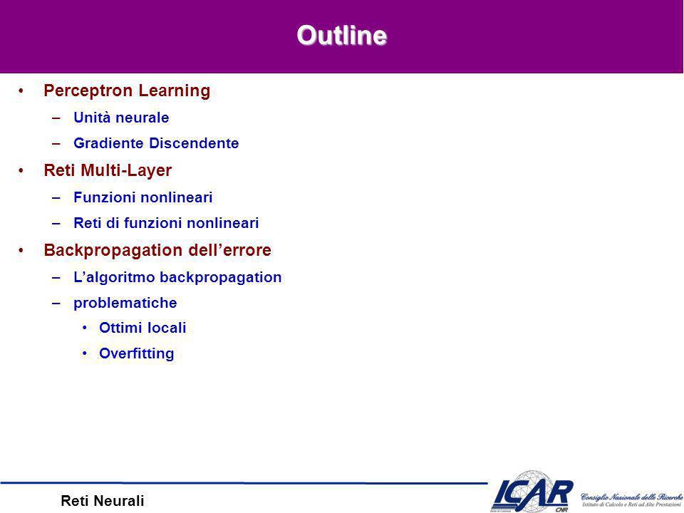 Reti Neurali Unità interne e Feature Extraction –I valori interni rappresentano le proprietà essenziali dellinput esempio Learning Hidden Layer Representations