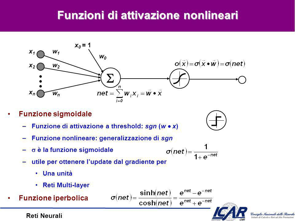 Reti Neurali Unità nonlineari –Funzione dattivazione (originaria): sgn (w x) –Attivazione nonlinare: generalizzazione di sgn Reti Multi-Layer –Multi-Layer Perceptrons (MLPs) –Una rete multi-layer feedforward è composta da uno strato di input, uno strato intermedio (nascosto) e uno strato di output –Gli strati di output è intermedi sono perceptrons (unità nonlineari) MLPs in teoria –Le reti (di 2 or o più strati) possono rappresentare qualsiasi funzione MLPs in pratica –Trovare la topologia giusta è difficoltoso –La fase di training è molto dispendiosa Reti Multi-Layer x1x1 x2x2 x3x3 Input Layer u 11 h1h1 h2h2 h3h3 h4h4 Hidden Layer o1o1 o2o2 v 42 Output Layer