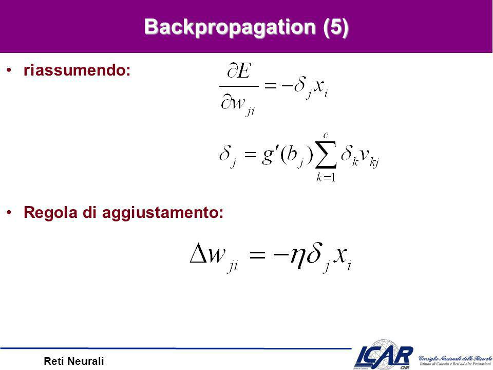 Reti Neurali Backpropagation (4) Su un peso interno, otteniamo: