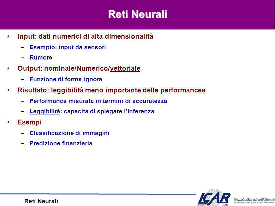 Reti Neurali –w 0 converge a 0 –Cambiamneti dopo le prime 1000 epoche Evoluzione dei pesi u i1, 1 i 8