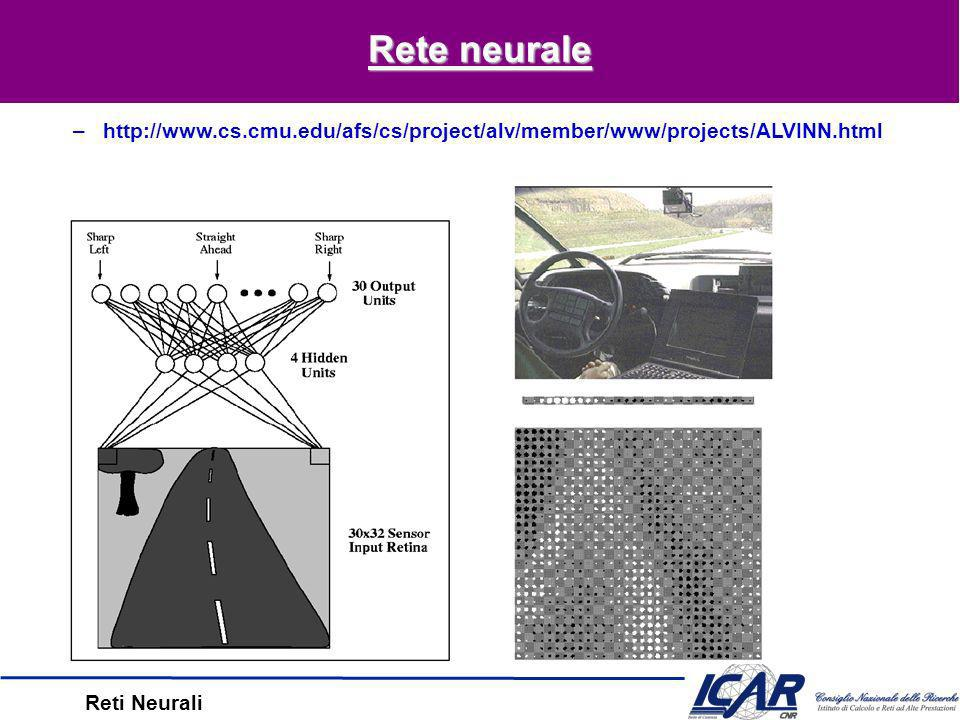 Reti Neurali Overfitting Overfitting –hpeggio di h su D train, meglio su D test Overtraining –Overfitting dovuto a troppe iterazioni