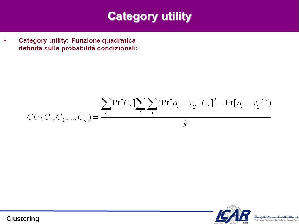 Clustering Category utility Category utility: Funzione quadratica definita sulle probabilità condizionali: