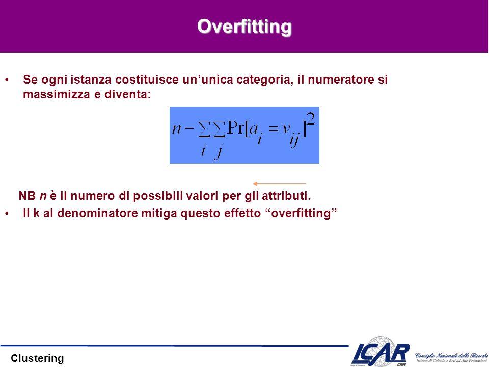 Clustering Overfitting Se ogni istanza costituisce ununica categoria, il numeratore si massimizza e diventa: NB n è il numero di possibili valori per gli attributi.