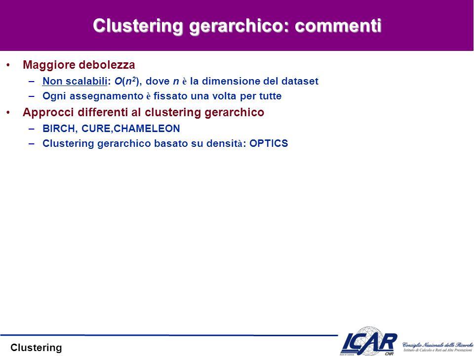 Clustering Clustering gerarchico: commenti Maggiore debolezza –Non scalabili: O(n 2 ), dove n è la dimensione del dataset –Ogni assegnamento è fissato una volta per tutte Approcci differenti al clustering gerarchico –BIRCH, CURE,CHAMELEON –Clustering gerarchico basato su densit à : OPTICS