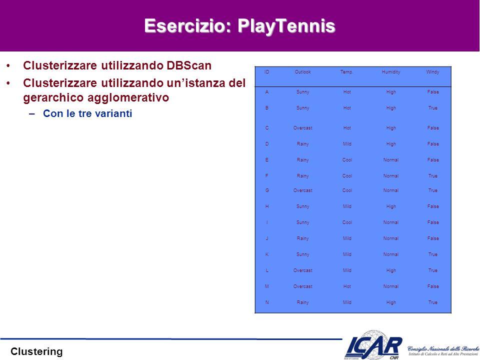 Clustering Esercizio: PlayTennis Clusterizzare utilizzando DBScan Clusterizzare utilizzando unistanza del gerarchico agglomerativo –Con le tre variant