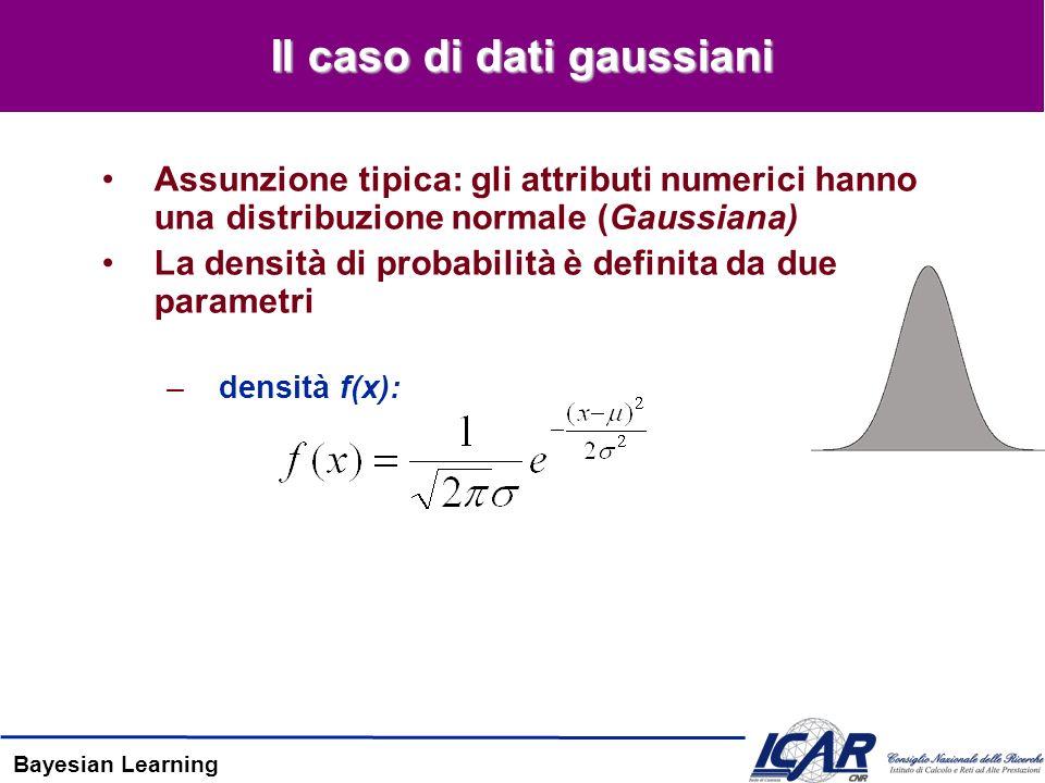 Bayesian Learning Il caso di dati gaussiani Assunzione tipica: gli attributi numerici hanno una distribuzione normale (Gaussiana) La densità di probabilità è definita da due parametri –densità f(x):