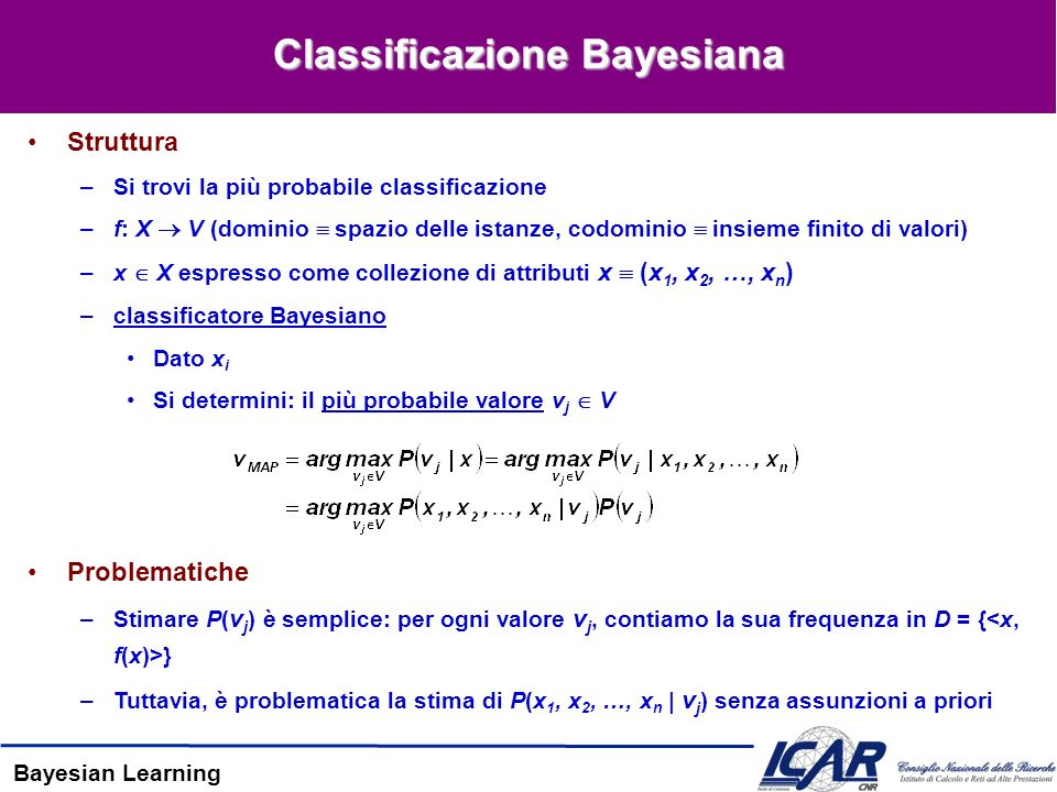 Bayesian Learning Classificazione Bayesiana Struttura –Si trovi la più probabile classificazione –f: X V (dominio spazio delle istanze, codominio insieme finito di valori) –x X espresso come collezione di attributi x (x 1, x 2, …, x n ) –classificatore Bayesiano Dato x i Si determini: il più probabile valore v j V Problematiche –Stimare P( v j ) è semplice: per ogni valore v j, contiamo la sua frequenza in D = { } –Tuttavia, è problematica la stima di P(x 1, x 2, …, x n | v j ) senza assunzioni a priori