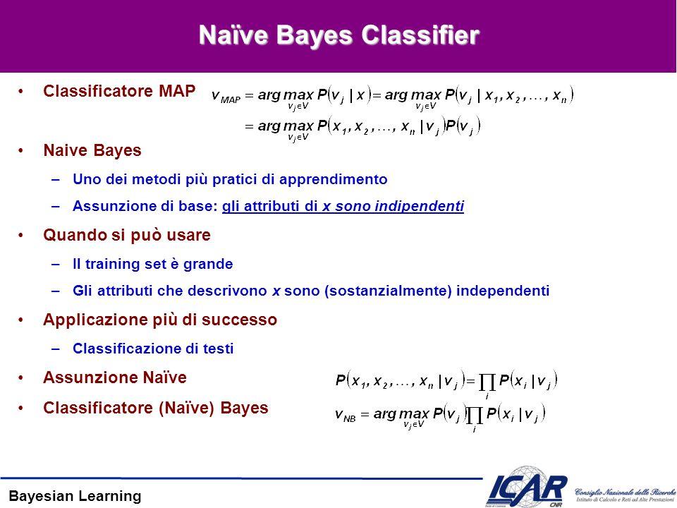 Bayesian Learning Naïve Bayes Classifier Classificatore MAP Naive Bayes –Uno dei metodi più pratici di apprendimento –Assunzione di base: gli attributi di x sono indipendenti Quando si può usare –Il training set è grande –Gli attributi che descrivono x sono (sostanzialmente) independenti Applicazione più di successo –Classificazione di testi Assunzione Naïve Classificatore (Naïve) Bayes