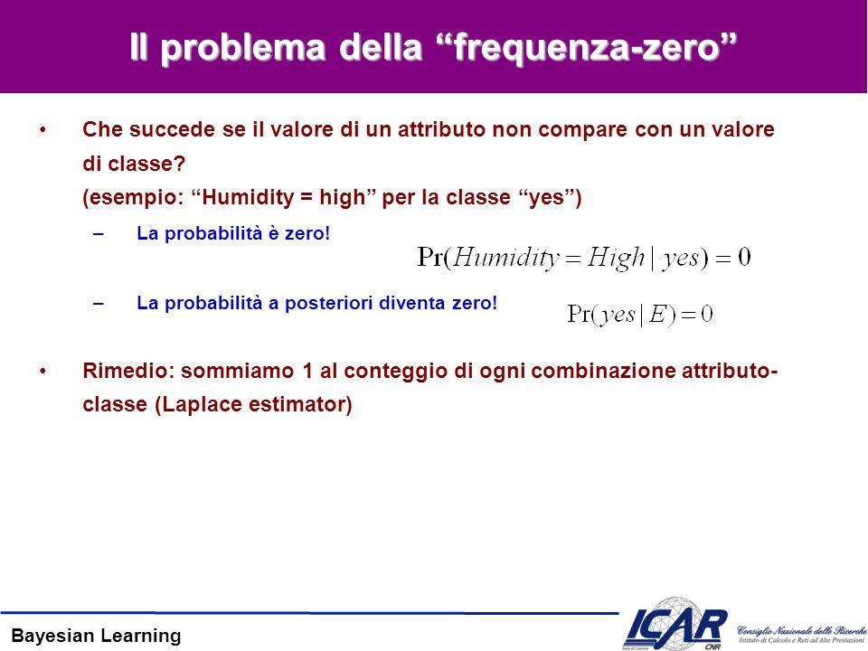 Bayesian Learning Il problema della frequenza-zero Che succede se il valore di un attributo non compare con un valore di classe? (esempio: Humidity =