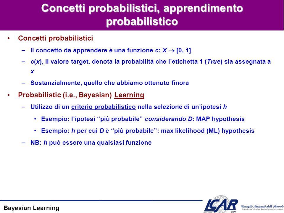 Bayesian Learning Concetti probabilistici, apprendimento probabilistico Concetti probabilistici –Il concetto da apprendere è una funzione c: X [0, 1] –c(x), il valore target, denota la probabilità che letichetta 1 (True) sia assegnata a x –Sostanzialmente, quello che abbiamo ottenuto finora Probabilistic (i.e., Bayesian) Learning –Utilizzo di un criterio probabilistico nella selezione di unipotesi h Esempio: lipotesi più probabile considerando D: MAP hypothesis Esempio: h per cui D è più probabile: max likelihood (ML) hypothesis –NB: h può essere una qualsiasi funzione
