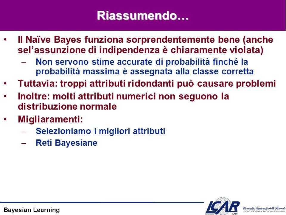 Bayesian Learning Riassumendo… Il Naïve Bayes funziona sorprendentemente bene (anche selassunzione di indipendenza è chiaramente violata) –Non servono stime accurate di probabilità finché la probabilità massima è assegnata alla classe corretta Tuttavia: troppi attributi ridondanti può causare problemi Inoltre: molti attributi numerici non seguono la distribuzione normale Migliaramenti: –Selezioniamo i migliori attributi –Reti Bayesiane