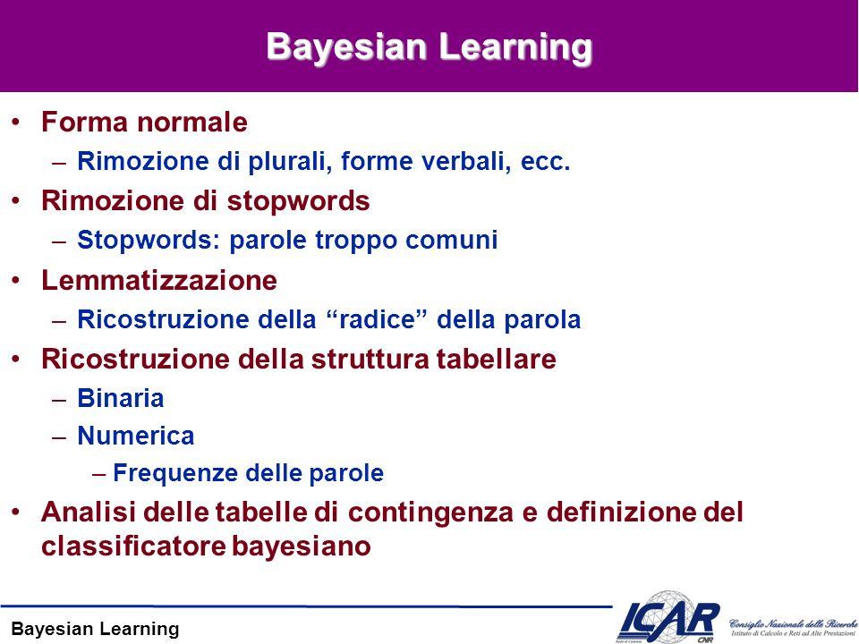Bayesian Learning Forma normale –Rimozione di plurali, forme verbali, ecc. Rimozione di stopwords –Stopwords: parole troppo comuni Lemmatizzazione –Ri