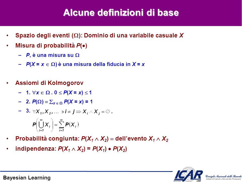 Bayesian Learning Alcune definizioni di base Spazio degli eventi ( ): Dominio di una variabile casuale X Misura di probabilità P( ) –P, è una misura su –P(X = x ) è una misura della fiducia in X = x Assiomi di Kolmogorov –1.
