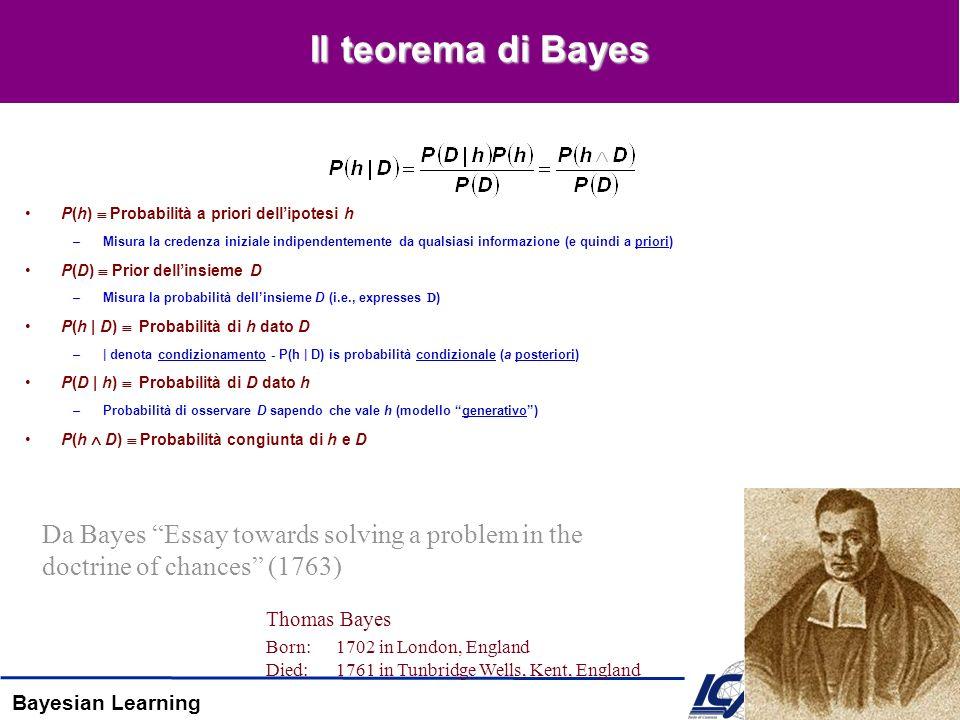 Bayesian Learning Il teorema di Bayes P(h) Probabilità a priori dellipotesi h –Misura la credenza iniziale indipendentemente da qualsiasi informazione (e quindi a priori) P(D) Prior dellinsieme D –Misura la probabilità dellinsieme D (i.e., expresses D) P(h | D) Probabilità di h dato D –| denota condizionamento - P(h | D) is probabilità condizionale (a posteriori) P(D | h) Probabilità di D dato h –Probabilità di osservare D sapendo che vale h (modello generativo) P(h D) Probabilità congiunta di h e D Thomas Bayes Born:1702 in London, England Died:1761 in Tunbridge Wells, Kent, England Da Bayes Essay towards solving a problem in the doctrine of chances (1763)
