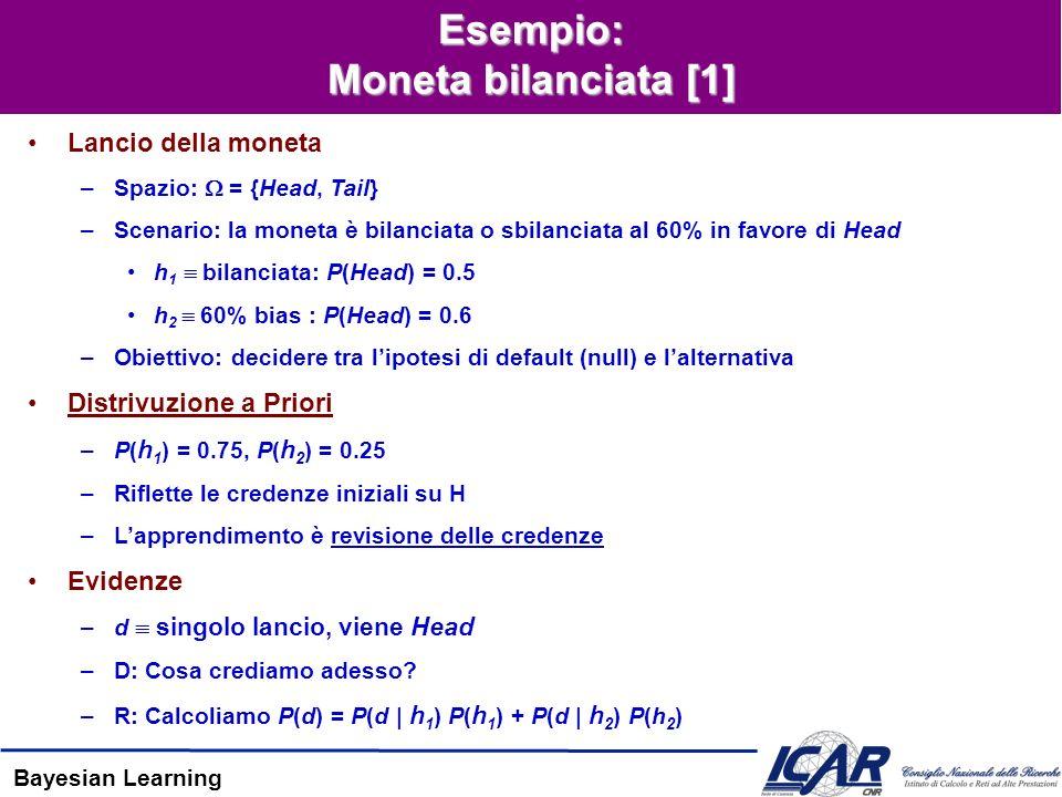 Bayesian Learning Esempio: Moneta bilanciata [1] Lancio della moneta –Spazio: = {Head, Tail} –Scenario: la moneta è bilanciata o sbilanciata al 60% in