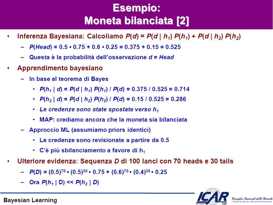 Bayesian Learning Esempio: Moneta bilanciata [2] Inferenza Bayesiana: Calcoliamo P(d) = P(d | h 1 ) P(h 1 ) + P(d | h 2 ) P(h 2 ) –P(Head) = 0.5 0.75 + 0.6 0.25 = 0.375 + 0.15 = 0.525 –Questa è la probabilità dellosservazione d = Head Apprendimento bayesiano –In base al teorema di Bayes P(h 1 | d) = P(d | h 1 ) P(h 1 ) / P(d) = 0.375 / 0.525 = 0.714 P(h 2 | d) = P(d | h 2 ) P(h 2 ) / P(d) = 0.15 / 0.525 = 0.286 Le credenze sono state spostate verso h 1 MAP: crediamo ancora che la moneta sia bilanciata –Approccio ML (assumiamo priors identici) Le credenze sono revisionate a partire da 0.5 Cè più sbilanciamento a favore di h 1 Ulteriore evidenza: Sequenza D di 100 lanci con 70 heads e 30 tails –P(D) = (0.5) 70 (0.5) 30 0.75 + (0.6) 70 (0.4) 30 0.25 –Ora P(h 1 | D) << P(h 2 | D)