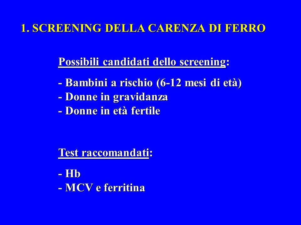 1. SCREENING DELLA CARENZA DI FERRO Possibili candidati dello screening: - Bambini a rischio (6-12 mesi di età) - Donne in gravidanza - Donne in età f