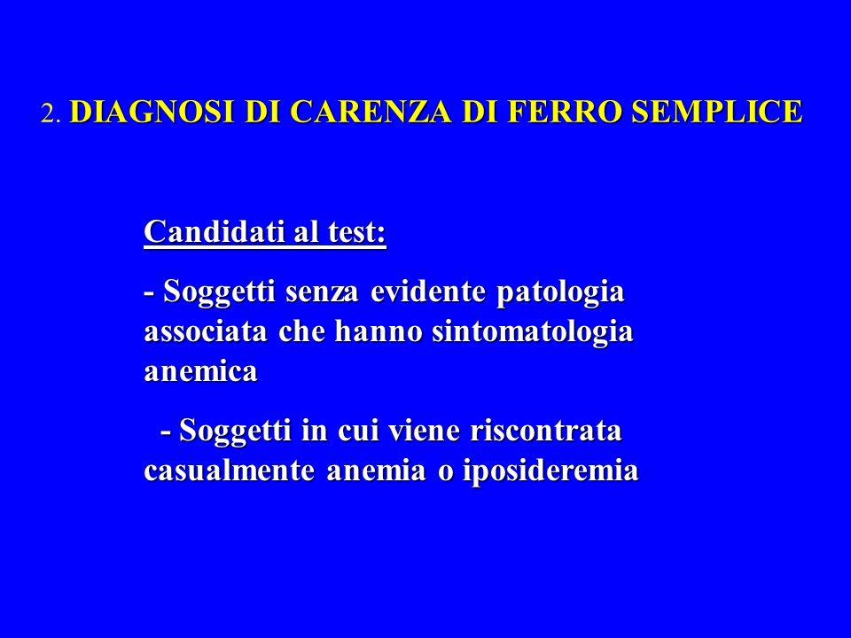DIAGNOSI DI CARENZA DI FERRO SEMPLICE 2. DIAGNOSI DI CARENZA DI FERRO SEMPLICE Candidati al test: - Soggetti senza evidente patologia associata che ha