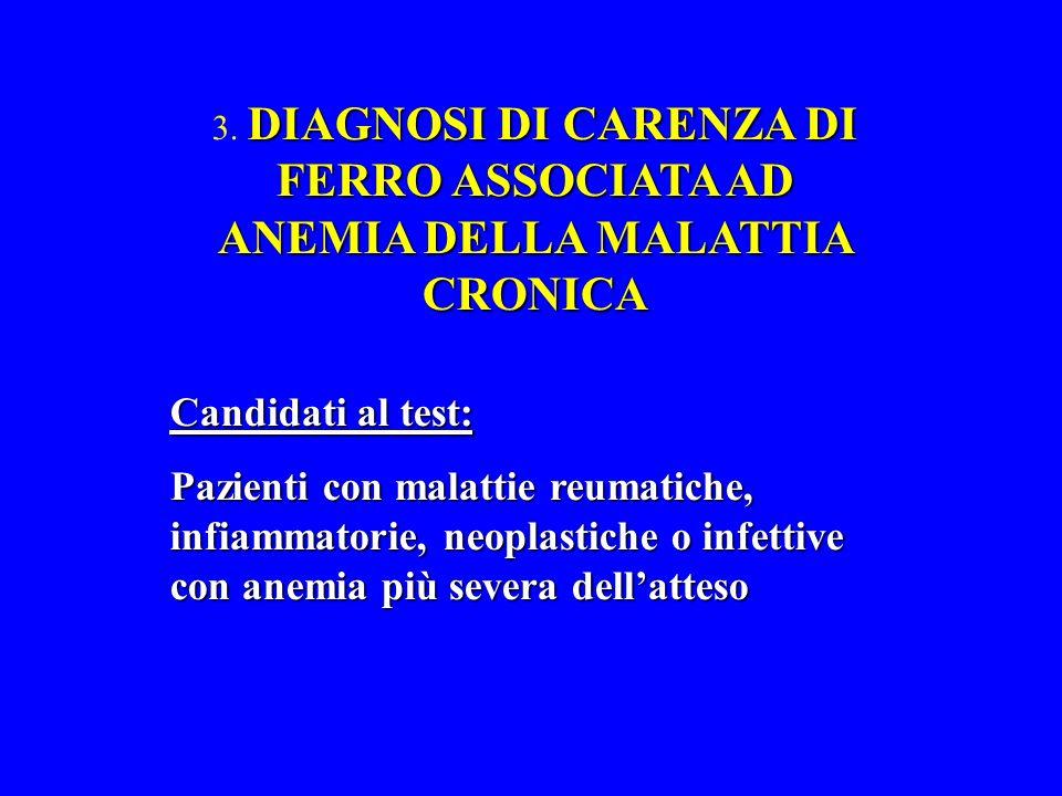 DIAGNOSI DI CARENZA DI FERRO ASSOCIATA AD ANEMIA DELLA MALATTIA CRONICA 3.