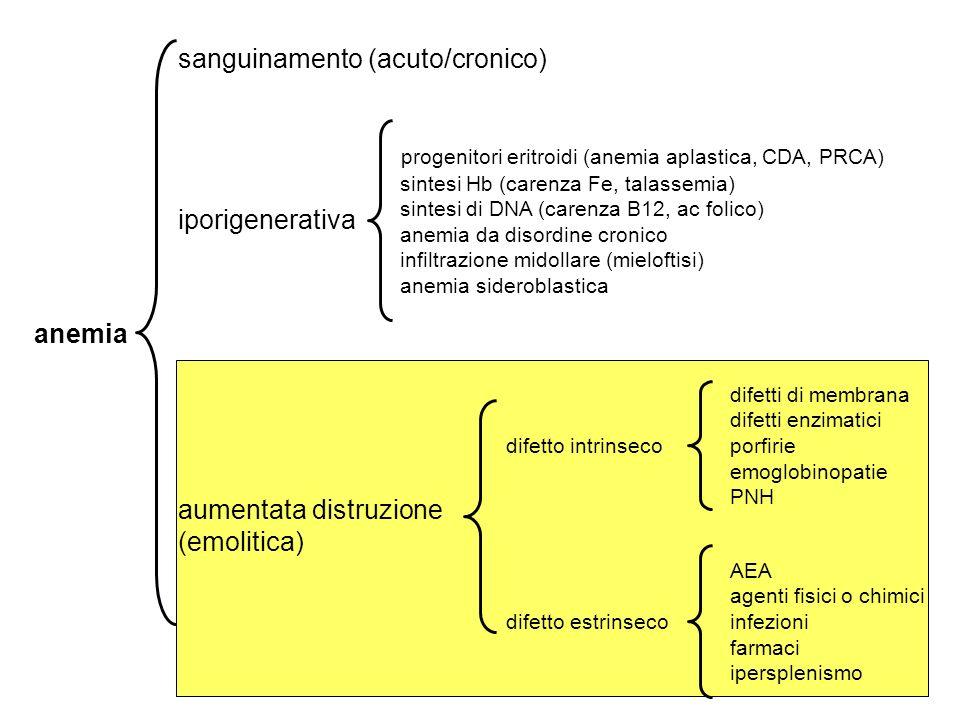 anemia sanguinamento (acuto/cronico) iporigenerativa aumentata distruzione (emolitica) progenitori eritroidi (anemia aplastica, CDA, PRCA) sintesi Hb