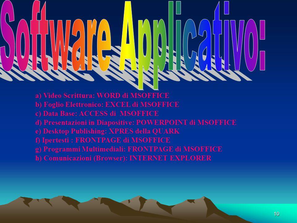 9 Software Applicativo Si definisce SOFTWARE APPLICATIVO un insieme di programmi che servono allutente per uno specifico scopo. In base al fine essi s