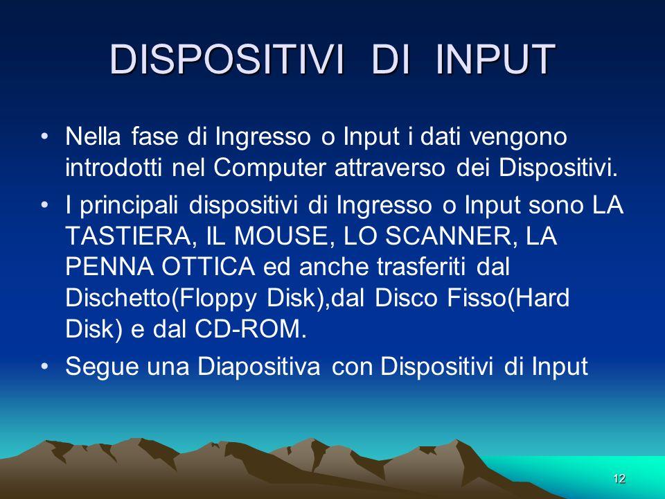 11 CICLO DEL COMPUTER Il COMPUTER è un Sistema di elaborazione automatica dei dati. La elaborazione automatica dei dati è determinato da un CICLO che