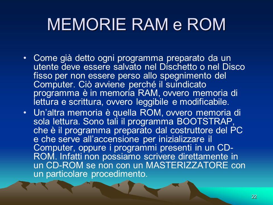 21 CAPACITA DELLA MEMORIA Se potessimo leggere il contenuto della Memoria Centrale (CM) noteremmo un insieme di cifre 0 e 1 consecutive. Esso è il lin