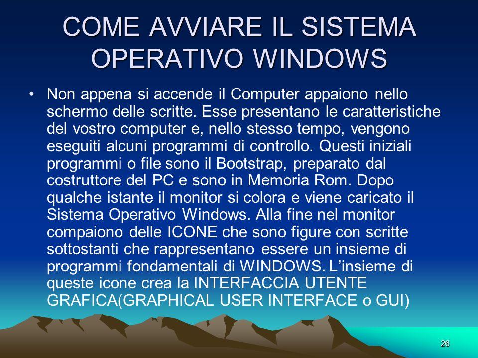 25 CONCETTO E FUNZIONI DEL SISTEMA OPERATIVO WINDOWS Il Sistema Operativo è costituito da moltissimi programmi, alcuni dei quali hanno la funzione di